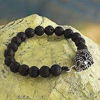 Silver and lava stone beaded bracelet, 'Intrepid Lion' - Lion Motif 950 Silver and Lava Stone Bracelet