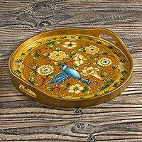 Reverse-painted glass tray, 'Highland Hummingbird in Gold' - Reverse-Painted Glass Tray with Hummingbird