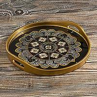 Reverse-painted glass tray, 'Andean Mandala in Black' - Floral Reverse-Painted Glass Mandala Tray from Peru