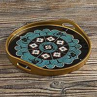 Reverse-painted glass tray, 'Andean Mandala in Aqua' - Floral Mandala Reverse-Painted Glass Tray