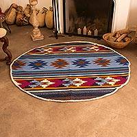 100% alpaca area rug, 'Inca Diamonds' (5 ft diameter) - Round 100% Alpaca Wool Area Rug from Peru (5 Ft Diameter)