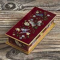 Reverse-painted glass decorative box, 'Butterflies on Burgundy' - Burgundy Reverse-Painted Glass Decorative Box