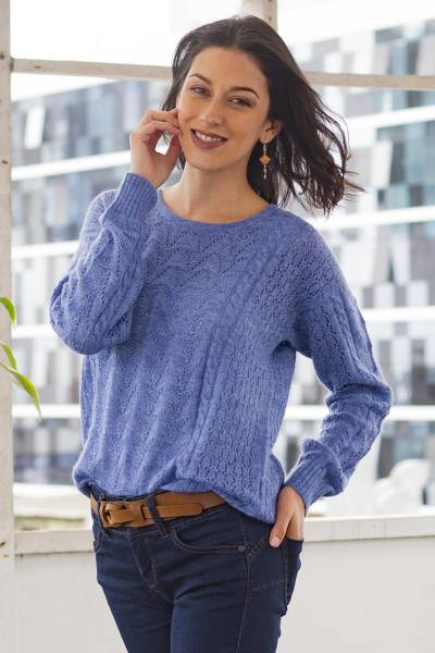 Baby alpaca blend pullover sweater, Distinction in Blue