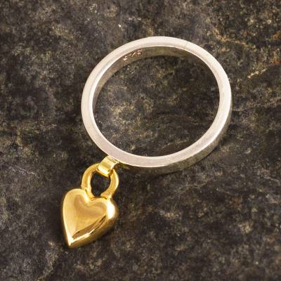 Gold accented charm ring, 'Magical Love' - Silver Band Ring with Gold Plated Heart Charm