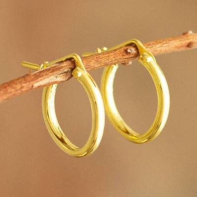 Gold plated hoop earrings, 'Always Classic' (.5 inch) - Classic Small 18k Gold Plated Hoop Earrings (.5 Inch)