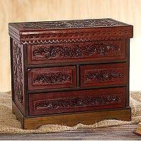 Leather and wood jewelry chest, 'Ancestral Treasure' - Tooled Leather Jewelry Chest from Peru