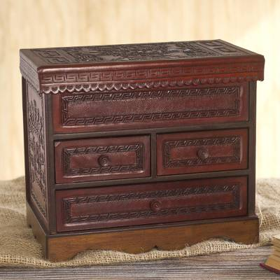 Leather and wood jewelry chest, 'God of Staffs' - Hand Crafted Wood and Leather Jewelry Chest