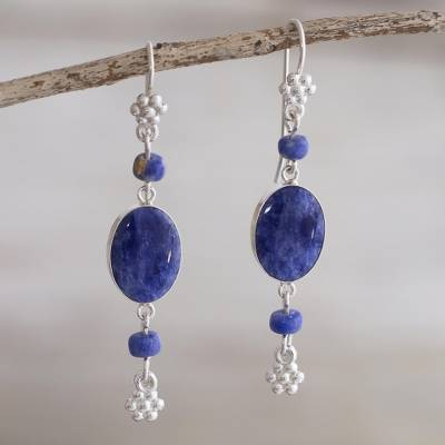 Sodalite dangle earrings, 'Impulse' - Artisan Crafted Sodalite Earrings