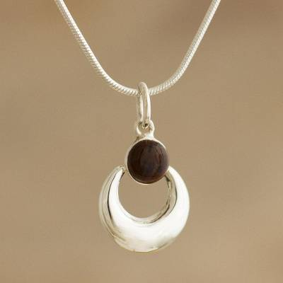 Mahogany obsidian pendant necklace, 'Crowned Crescent' - Handmade Mahogany Obsidian Necklace