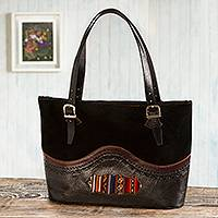 Leather and suede tote bag, 'Cusco Journey' - Leather and Suede and Wool Tote Bag