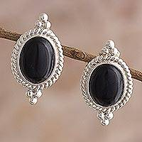 Onyx drop earrings, 'Legato' - Classic Black Onyx Button Earrings