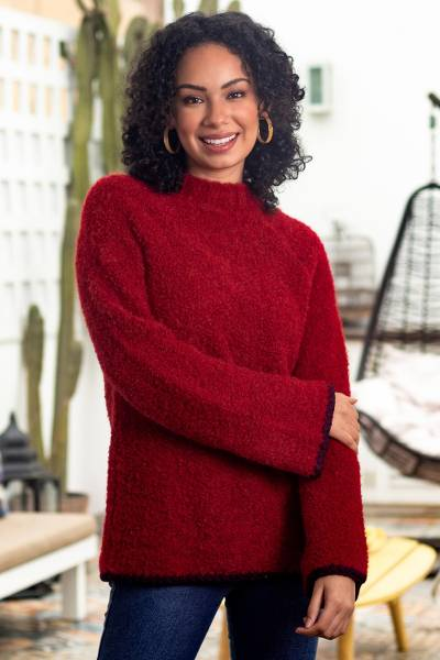 Alpaca blend funnel neck sweater, 'Sumptuous Warmth in Red' - Plush and Warm Red Alpaca Blend Boucle Sweater