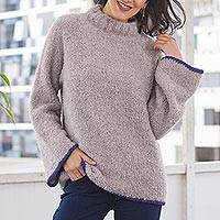 Alpaca blend funnel neck sweater, 'Sumptuous Warmth in Mauve' - Light Mauve Alpaca Blend Boucle Sweater