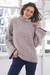 Alpaca blend funnel neck sweater, 'Sumptuous Warmth in Mauve' - Light Mauve Alpaca Blend Boucle Sweater thumbail