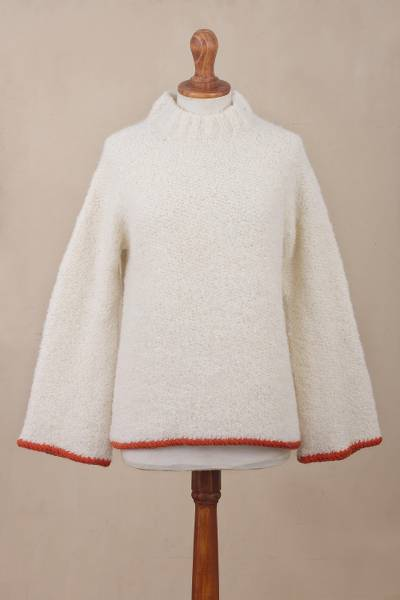 Alpaca blend funnel neck sweater, Sumptuous Warmth in White