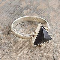 Onyx cocktail ring, 'Black Pyramid' - Sterling Silver and Onyx Ring from Peru