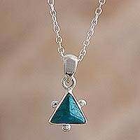 Chrysocolla pendant necklace, 'Green Pyramid' - Sterling Silver and Chrysocolla Pendant Necklace