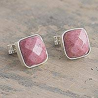 Rhodonite stud earrings, 'Equanimity' - Square Andean Rhodonite Stud Earrings