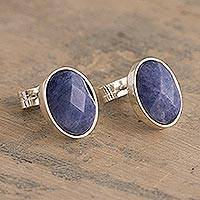 Sodalite stud earrings, 'Possibility' - Oval Sodalite Stud Earrings