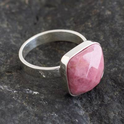 Rhodonite single-stone ring, 'Equanimity' - Handmade Sterling and Rhodonite Ring