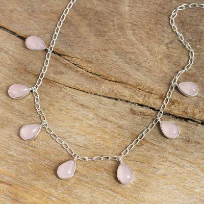 Rose quartz pendant necklace, 'Poem' - Natural Rose Quartz Pendant Necklace