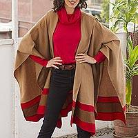 100% baby alpaca ruana cloak, 'Regal Fashion Chic' - Red Trim Generous Tan Baby Alpaca Roana Cloak from Peru
