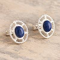 Sodalite button earrings, 'Eternal Calm' - Oval Button Earrings with Sodalite