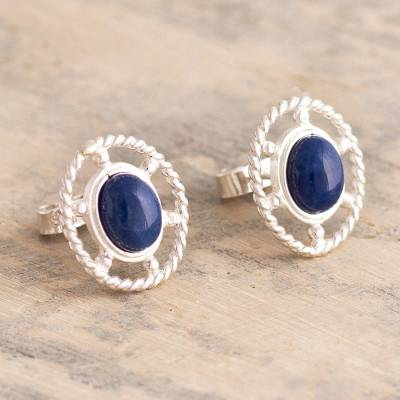 Sodalite button earrings, Eternal Calm