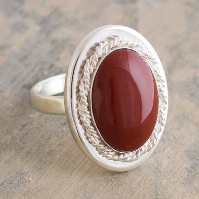 Jasper cocktail ring, 'Cachet' - Handmade Russet Jasper Cocktail Ring