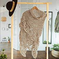 Hand-crocheted alpaca-blend shawl, 'Soft Touch' - Soft Alpaca Blend Shawl in Oatmeal