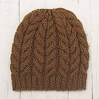 Alpaca blend knit hat, 'Sepia Cables' - Hand Knit Brown Alpaca Blend Hat