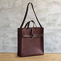 Leather tote bag,'World Class' - Minimalist Chestnut Leather Tote Bag