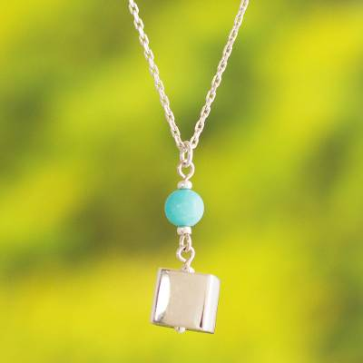Amazonite pendant necklace, 'Cubist' - Peruvian Amazonite and Sterling Silver Pendant Necklace