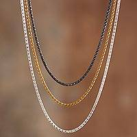 Mixed finish sterling silver necklaces, 'Medley' (set of 3) - Mixed Finish Sterling and Gold Plated Necklaces (Set of 3)