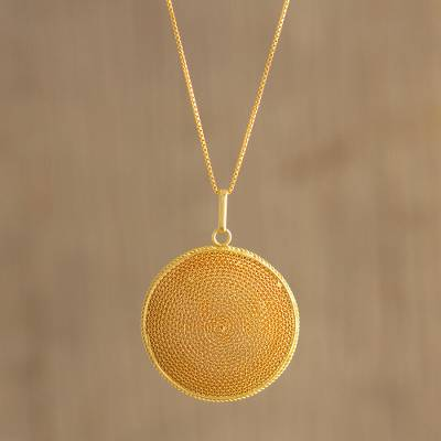 Gold-plated filigree pendant necklace, 'Temple of the Sun' - Peruvian Gold-Plated Filigree Pendant Necklace