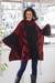 Alpaca blend knit poncho, 'Inca Claret' - Knit Alpaca Blend Red and Black Poncho (image 2b) thumbail