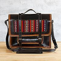 Wool-accented leather briefcase, 'Cusco Classic' - Hand Crafted Andean Leather and Wool Briefcase