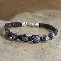 Sodalite beaded macrame bracelet, 'Clouded Blue' - Sodalite Beaded Macrame Bracelet from Peru
