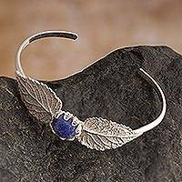 Sodalite cuff bracelet, 'Elm Leaf Embrace' - Handcrafted Silver & Sodalite Bracelet with Filigree Accents