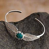 Chrysocolla cuff bracelet, 'Elm Leaf Embrace' - Handcrafted Silver-Chrysocolla Bracelet with Filigree Accent