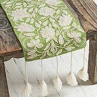 Wool table runner, 'Spring Green Garden' - Floral Crocheted Wool Table Runner in Spring Green