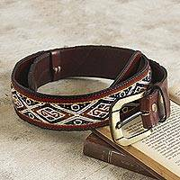 Wool-accented leather belt, 'Inca Ancestors' - Hand Loomed Wool Accent Leather Belt