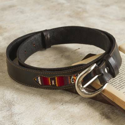 Wool-accented leather belt, 'Cusco Heritage' - Leather Belt with Andean Wool Accents