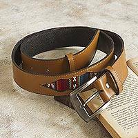 Wool-accented leather belt, 'Cusco Camel' - Camel Colored Leather and Wool Accent Belt