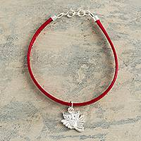 Faux leather and sterling silver charm bracelet, 'Owl Charm in Red' - Red Faux Leather Owl Charm Bracelet