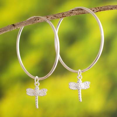 Sterling silver hoop earrings, 'Paradise Dragonfly' - Andes Sterling Silver Hoop Earrings with Dragonflies