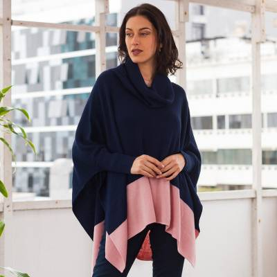 Baby alpaca blend poncho sweater, 'Effortless Chic in Navy' - Knit Poncho Sweater in Navy and Pink