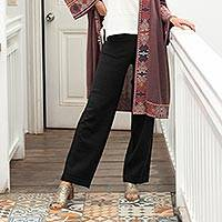 Cotton and baby alpaca blend pants, 'Black Magic' - Cotton Blend Black Pants