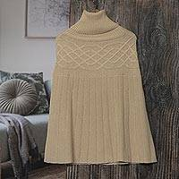 Knitted alpaca blend poncho, 'Natural Ivory' - Braided Detail Ivory Alpaca Blend Poncho from Peru