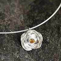 Citrine collar necklace, 'Surco Rose' - Andean Citrine and Sterling Silver Rose Pendant Necklace